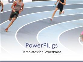 PowerPlugs: PowerPoint template with a couple of athletes running on the track