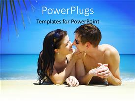 PowerPoint template displaying a couple on the beach with a sea in background