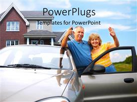 PowerPlugs: PowerPoint template with a couple with the car and home in the background