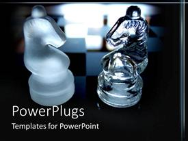 PowerPlugs: PowerPoint template with a couple of chess pieces with chess board in the background