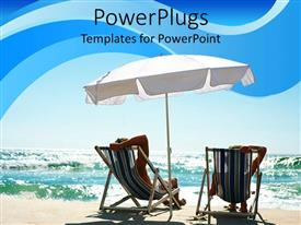 PowerPoint template displaying a couple enjoying on the beach