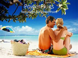 PowerPlugs: PowerPoint template with a couple enjoying their time on a beach