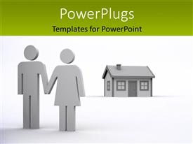 PowerPlugs: PowerPoint template with couple hold hands with small residential house on white background