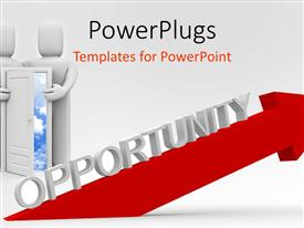 PowerPlugs: PowerPoint template with a couple holding the door together along with the depiction of an opportunity
