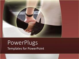 PowerPoint template displaying couple holding hands with circular depiction of hands and blurred background