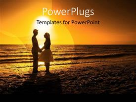 PowerPoint template displaying couple holding hands gazing into each others eyes on beach at sunset
