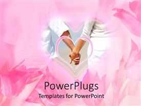 PowerPlugs: PowerPoint template with a couple holding their hands with pinkish background