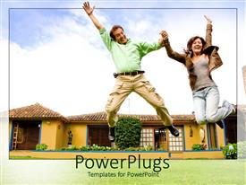 PowerPlugs: PowerPoint template with a couple with a house in the background