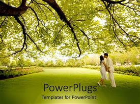 PowerPlugs: PowerPoint template with a couple kissing each other with greenery in the background