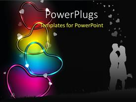 PowerPlugs: PowerPoint template with a couple kissing each other with a lot of hearts in background