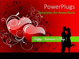 PowerPlugs: PowerPoint template with a couple kissing each other with reddish background and place for text