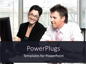 PowerPlugs: PowerPoint template with a couple looking on the screen