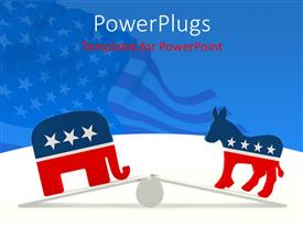PowerPlugs: PowerPoint template with couple of mascots breaking the balance with American Flag