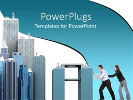 PowerPlugs: PowerPoint template with a couple with a number of buildings