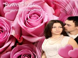 PowerPlugs: PowerPoint template with a couple with a number of roses in the background