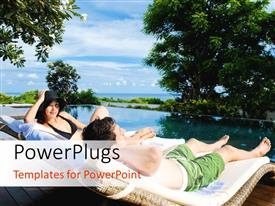 PowerPoint template displaying a couple relaxing on beach chairs beside a lake