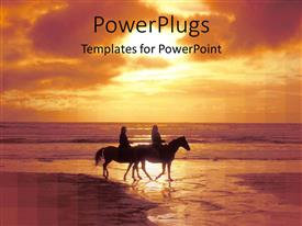 PowerPoint template displaying a couple riding horses on the beach