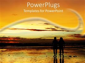 PowerPoint template displaying couple in silhouette on beach at sunset, retirement, travel