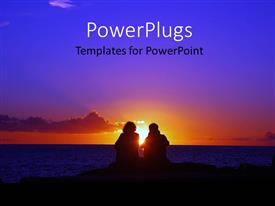 PowerPlugs: PowerPoint template with couple sitting on beach with beautiful sunset on horizon