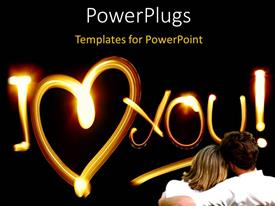 PowerPlugs: PowerPoint template with a couple sitting together loving each other with blackish background
