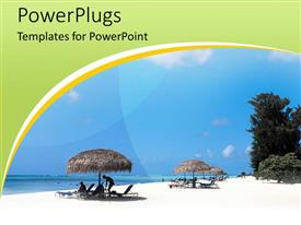 PowerPlugs: PowerPoint template with couple spending holiday at beach with blue sky and beach huts
