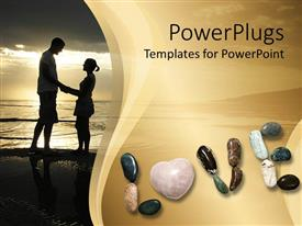 PowerPlugs: PowerPoint template with a couple standing on a beach along with the word love spelled with stones