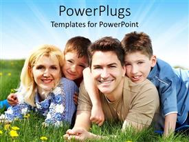 PowerPlugs: PowerPoint template with couple with two kids lying on flowery vegetation