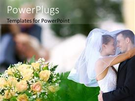 PowerPoint template displaying a couple on their wedding day with  bunch of flowers
