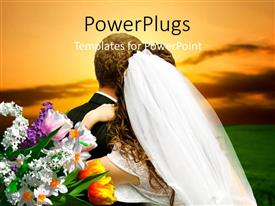 PowerPlugs: PowerPoint template with a couple on the wedding day with clouds in background