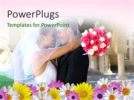 PowerPlugs: PowerPoint template with a couple on their wedding day with a lot of flowers