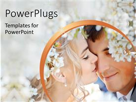 PowerPlugs: PowerPoint template with a couple on their wedding with flowers in the background