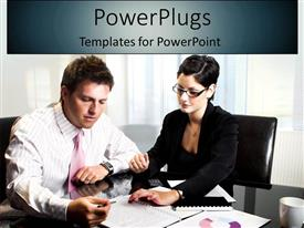 PowerPlugs: PowerPoint template with a couple working together in an office