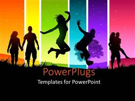 PowerPlugs: PowerPoint template with couples and friends having fun with multiple colors