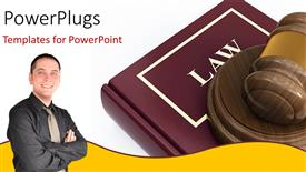 PowerPoint template displaying a young smiling man beside a large law book abd a gavel