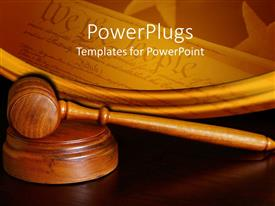 PowerPlugs: PowerPoint template with court gavel stars mirror of american constitution we the people