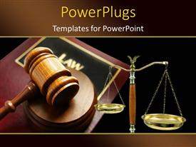 PowerPlugs: PowerPoint template with court gavel on top of a law book and balance