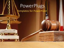 PowerPlugs: PowerPoint template with courtroom with balance and gavel on the table