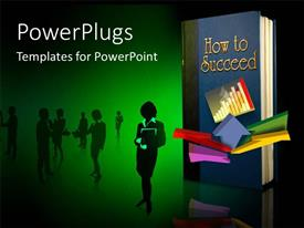 PowerPlugs: PowerPoint template with cover page of book titled HOW TO SUCCEED with people in background