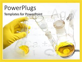 PowerPlugs: PowerPoint template with a covered hand with a number of different chemicals