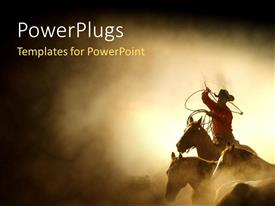 PowerPoint template displaying a cowboy on the horse with sand in the background