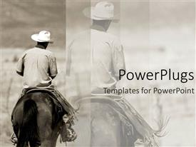 PowerPoint template displaying a cowboy riding  a horse with its reflection in the background