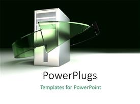 PowerPlugs: PowerPoint template with a cpu with an arrow and blackish background