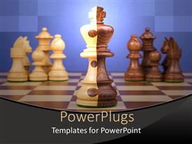 PowerPlugs: PowerPoint template with cream and brown colored chess pieces on a chess board