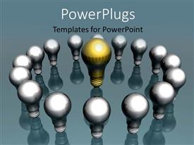 PowerPlugs: PowerPoint template with creative idea and leadership depiction with white bulbs circling yellow bulb