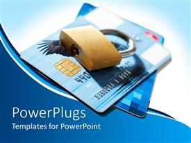 PowerPlugs: PowerPoint template with a credit card being locked non-traditionally for security purposes