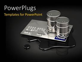 PowerPoint template displaying a credit card with blackish background