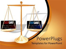 PowerPoint template displaying credit card debit card comparison with cards on scales