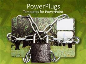 PowerPlugs: PowerPoint template with credit card protected by iron chain and padlock