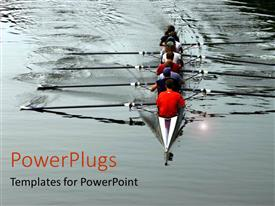 PowerPlugs: PowerPoint template with crew rowing together on river teamwork
