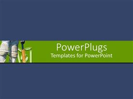 PowerPlugs: PowerPoint template with cricket player with batt and pads on green banner, blue background